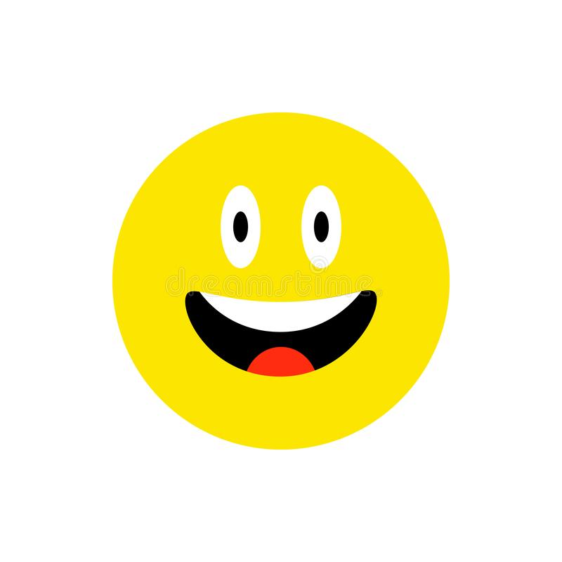 Happy face smiling emoji with open mouth. Funny Smile flat style. Cute Emoticon symbol. Smiley, laugh icon. For mobile royalty free illustration