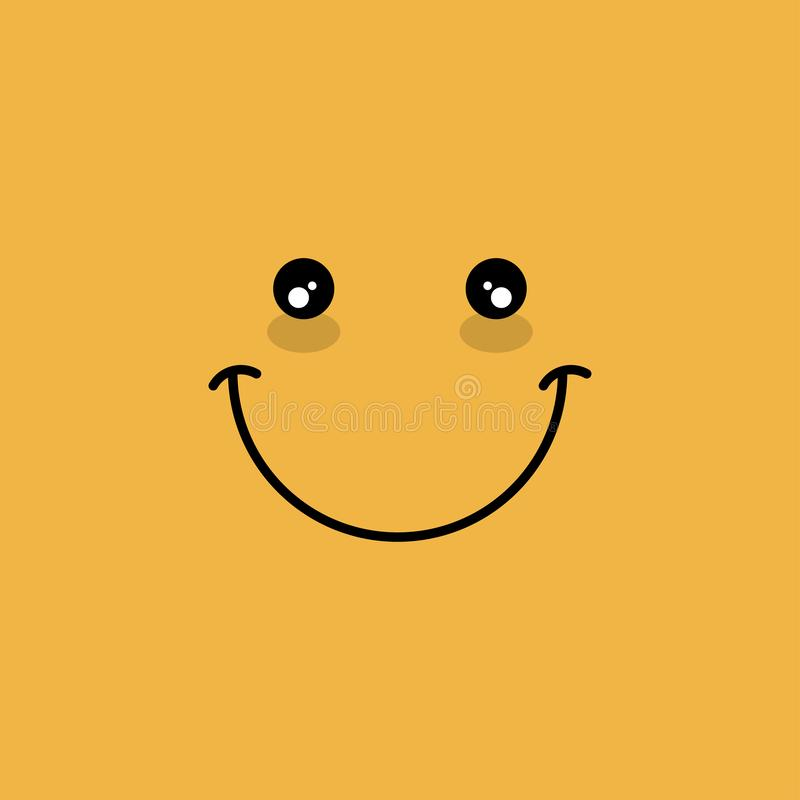 Happy face symbol vector illustration emoticon smile element yellow color. Emotion, sign, funny, cartoon, design, cute, cheerful, smiley, character, isolated stock photography