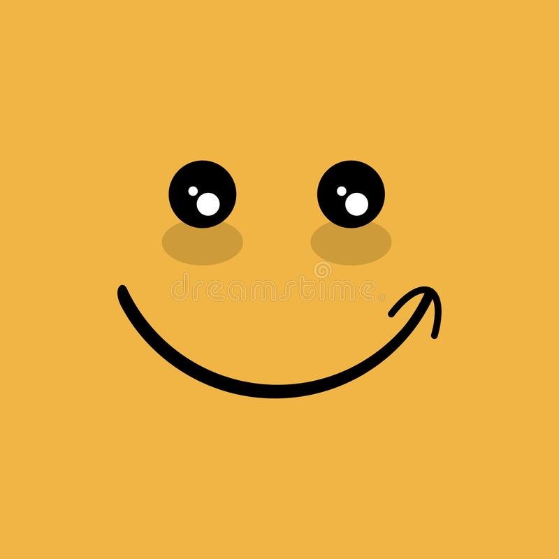 Happy face vector illustration icon smile element yellow color cute drawing with arrow royalty free stock image