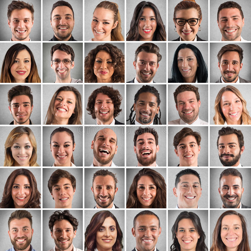 Happy faces collage royalty free stock photos