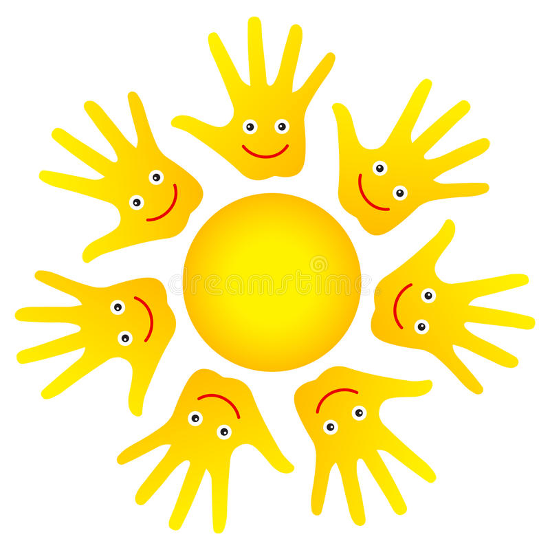 Happy faces hands sun royalty free illustration