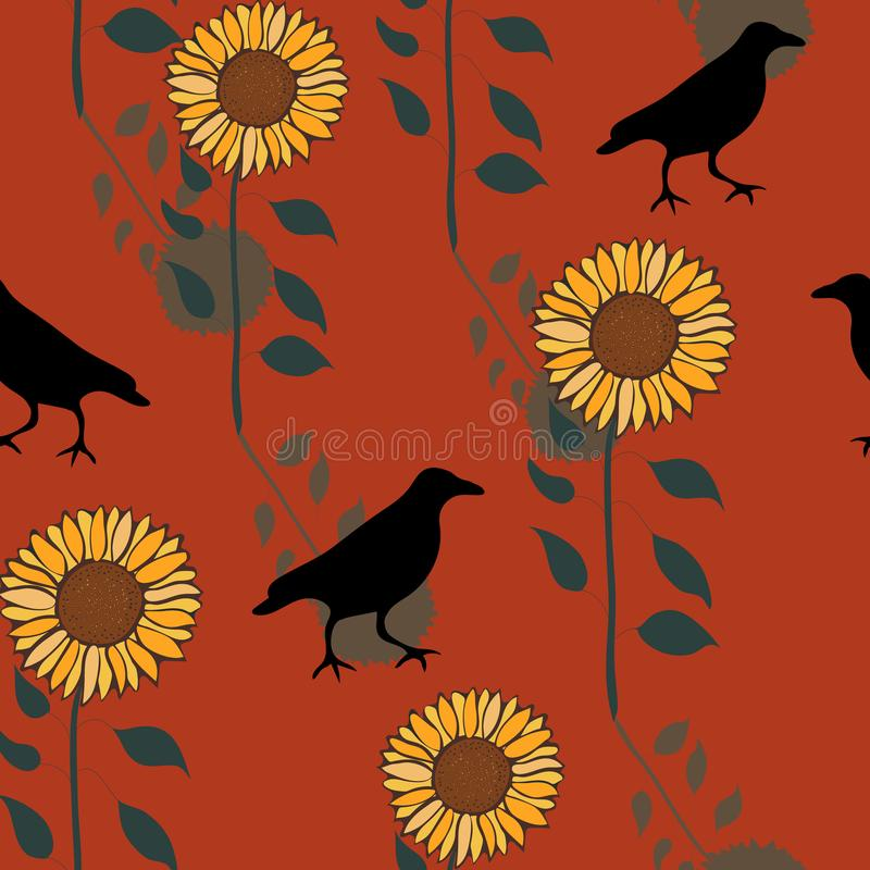 Happy Fall Crow Print Vector Seamless Repeat Pattern stock illustration