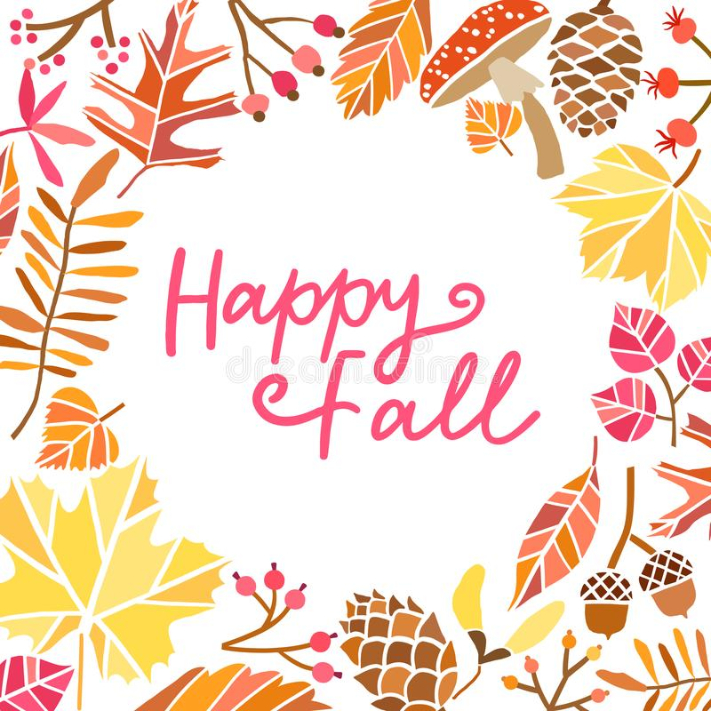 Happy fall leaves vector background. Autumn illustration. Happy fall leaves vector background. Autumn maple illustration vector illustration