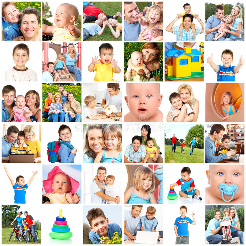 Happy families. Fathers, mothers and children stock photos