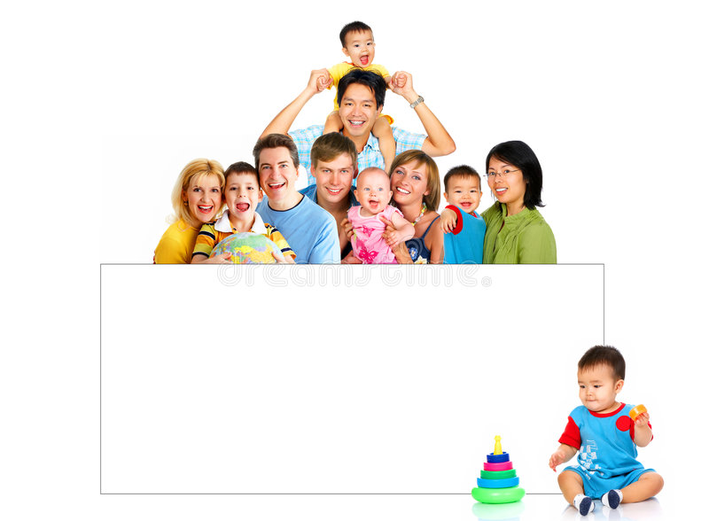 Happy families. Happy smiling families. Isolated over white background royalty free stock images