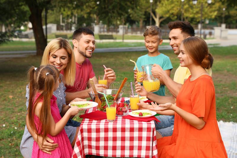 Happy families with children having picnic at table stock image