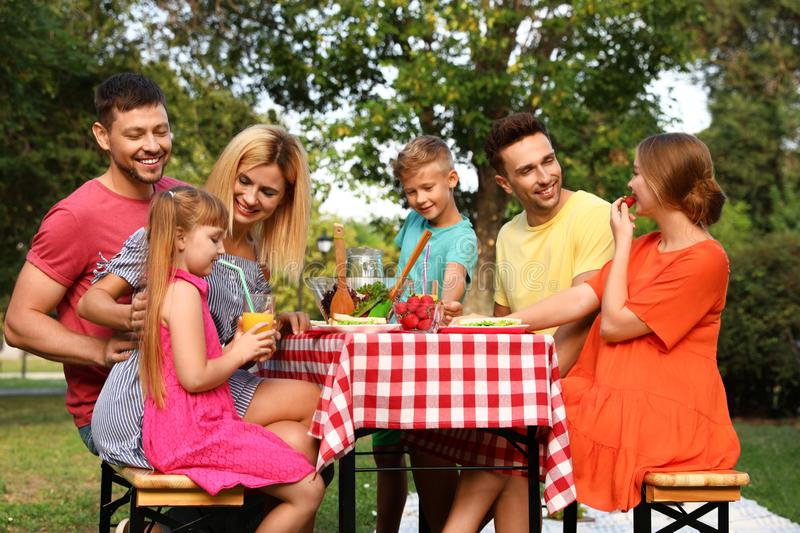 Happy families with children having picnic at table stock photography