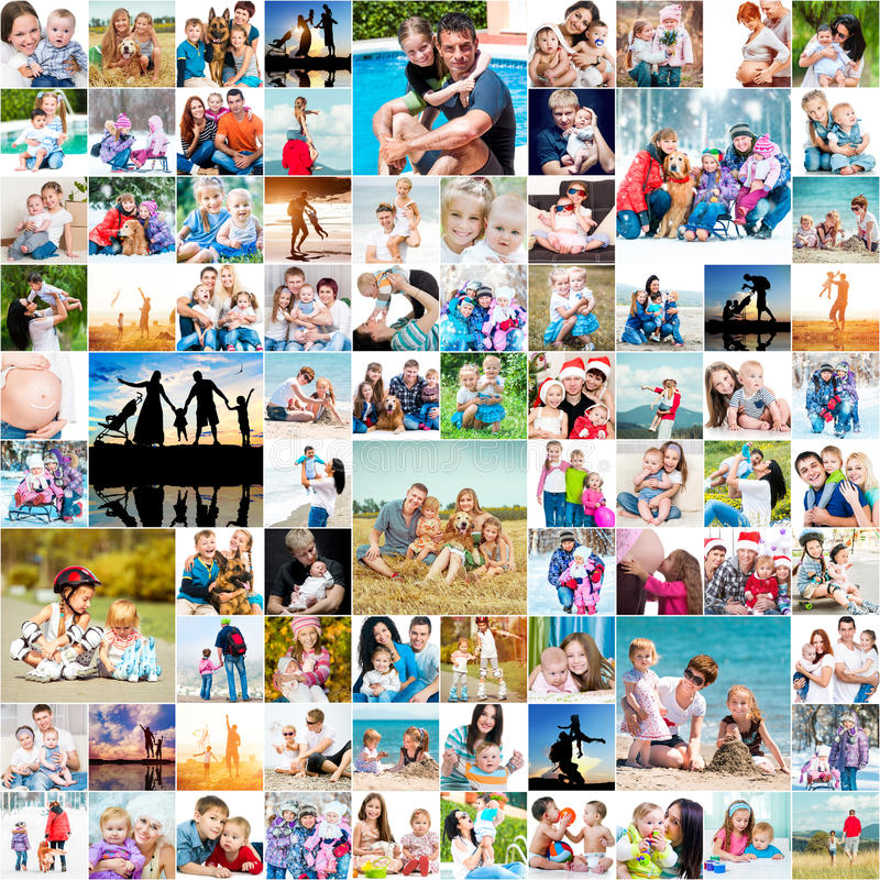 Happy families. Collection photos of happy families royalty free stock photos