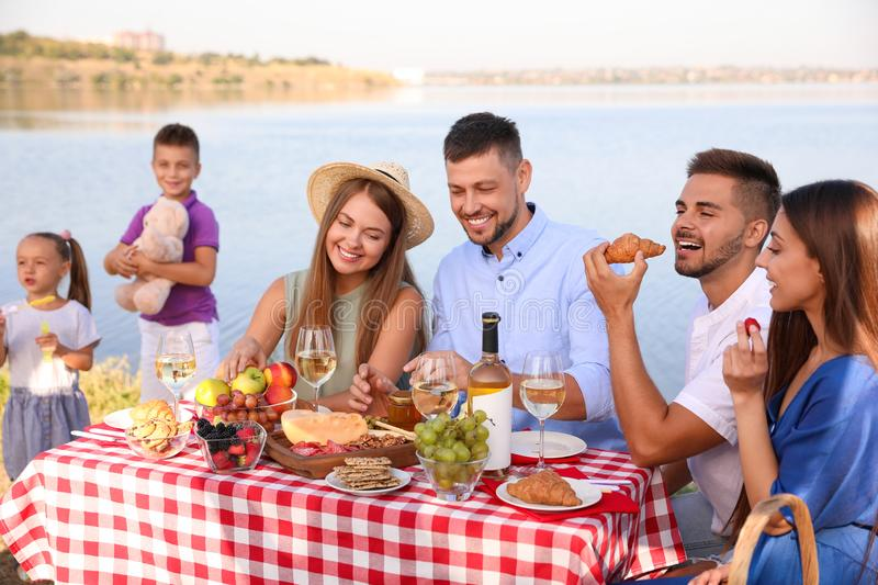 Happy families with little children having picnic royalty free stock images