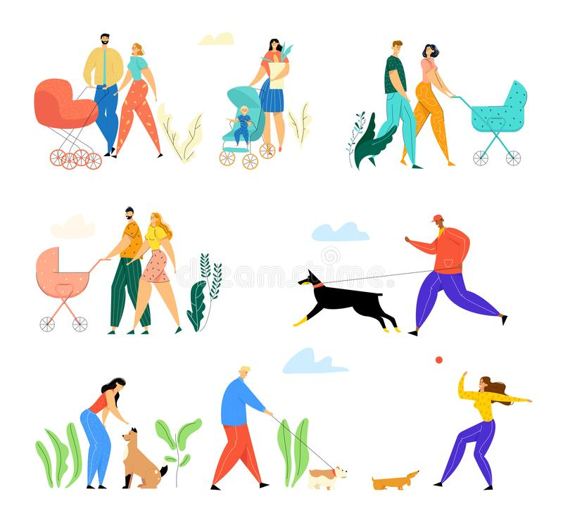 Happy Families with Little Kids and Owners with Pets Walking Outdoors on Street. Couple with Babies Spend Time Together. People Playing with Dogs in Public stock illustration