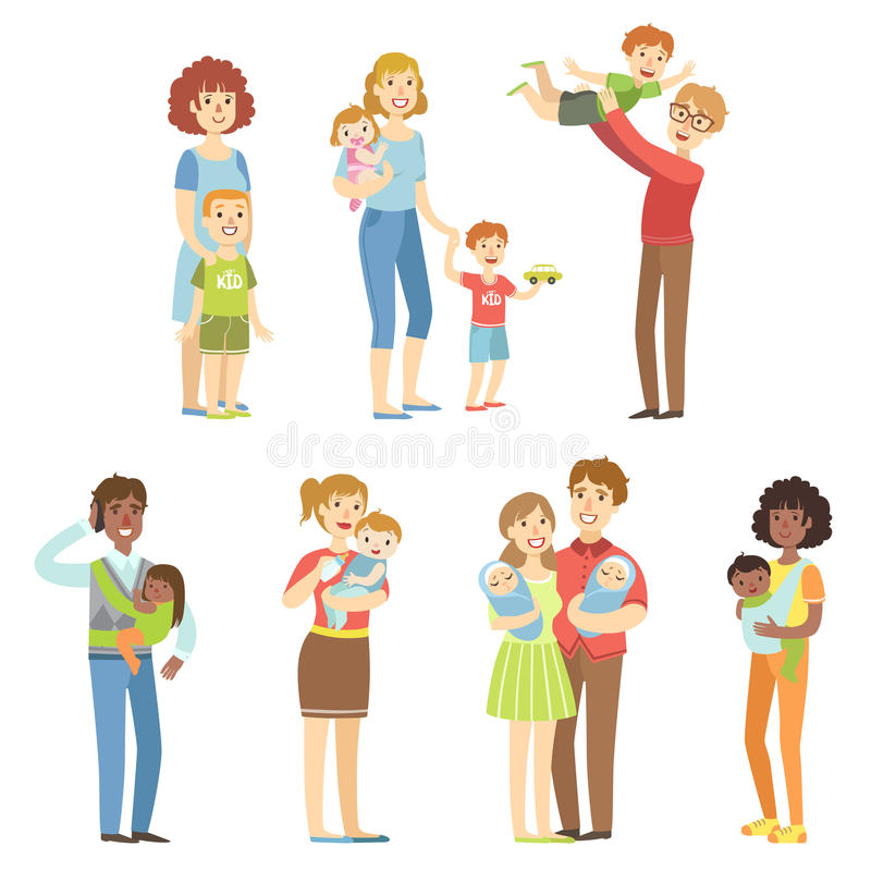Happy Families With Small Children vector illustration