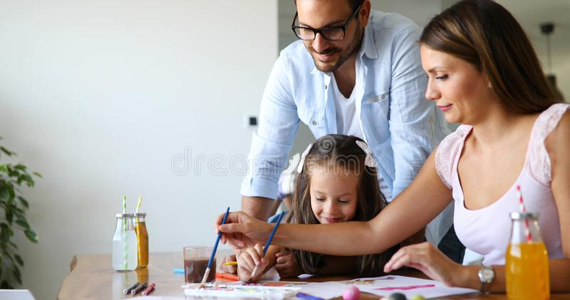 Happy familiy spending fun time at home stock image