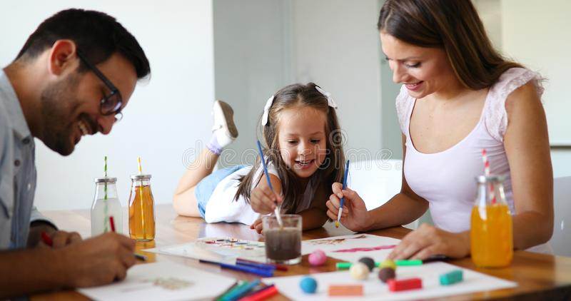 Happy familiy spending fun time at home royalty free stock image