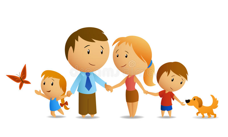 Happy family. Vector illustration of happy family, where dad, mom, son and daughter hold hands each other