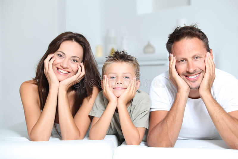 Download Happy family stock photo. Image of smiling, sofa, home - 16281530
