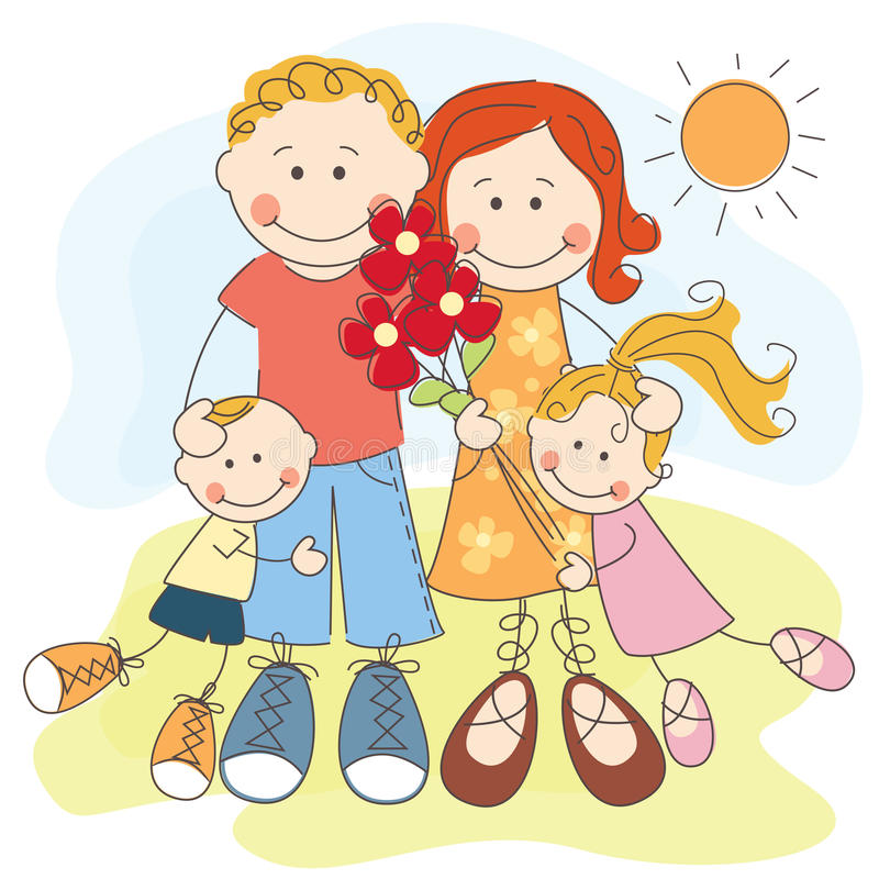 Download Happy family stock vector. Image of model, embrace, child - 25341293