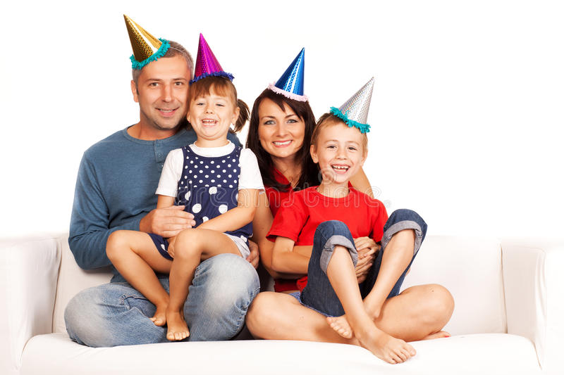 Happy family. Father, mother and children celebrating birthday at home royalty free stock photography