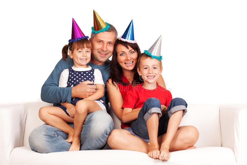 Happy family. Father, mother and children celebrating birthday at home royalty free stock photos