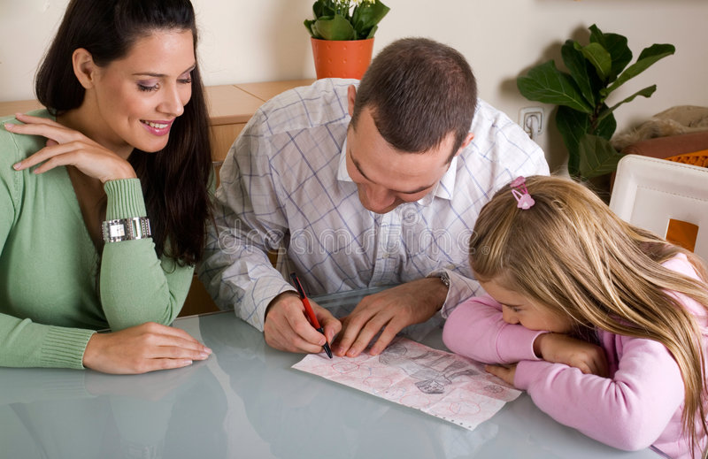 Happy family. Mother, father and daughter together royalty free stock photo