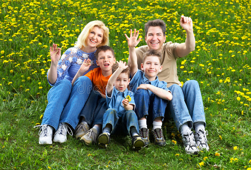Download Happy family stock photo. Image of grass, park, relax - 5156024