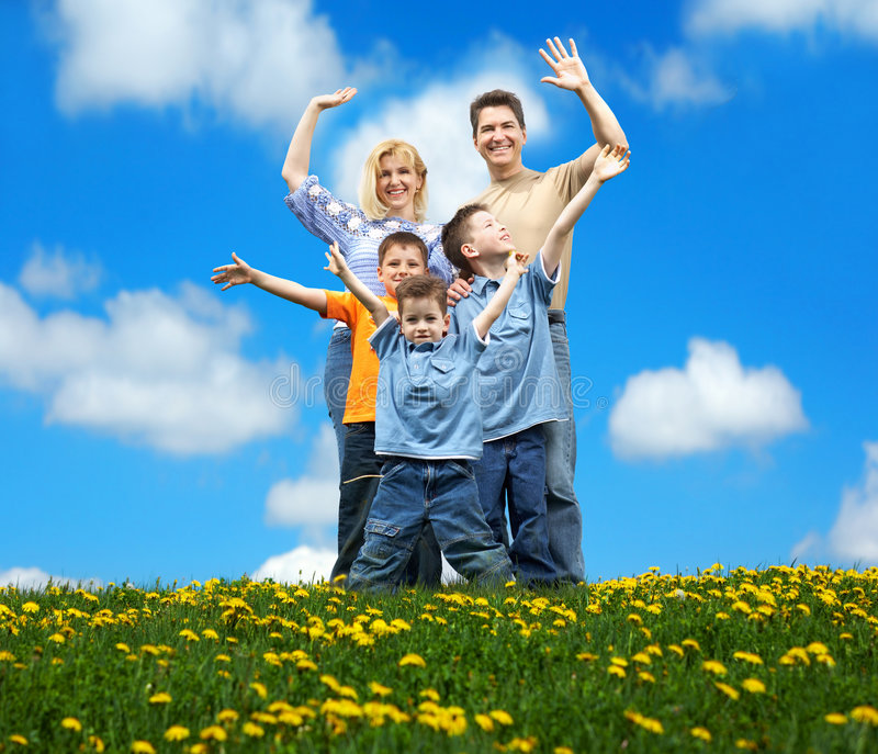 Download Happy family stock photo. Image of heaven, smiling, landscape - 5243618