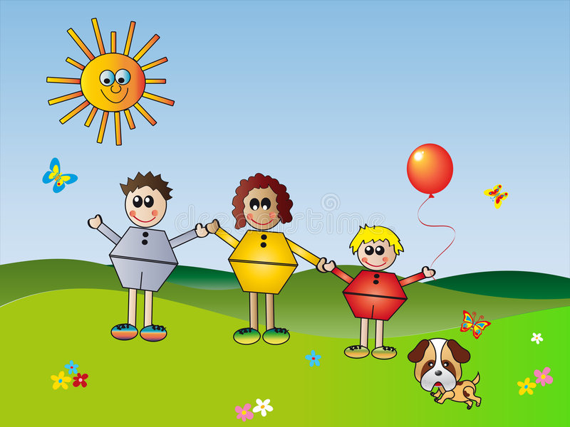 Download Happy family stock illustration. Image of active, flowers - 6258239