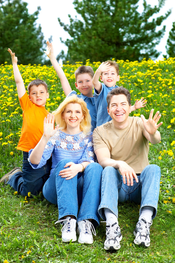 Download Happy family stock photo. Image of parenthood, green, grass - 7293416