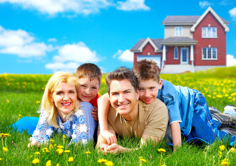 Download Happy family. stock image. Image of people, estate, kids - 9215857