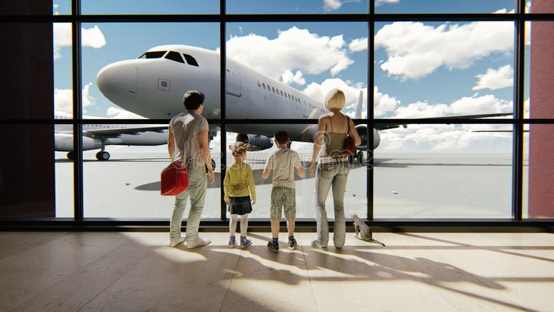 Happy family in airport near window looking on airplanes and waiting for time of flight at sunrise. 3D Rendering vector illustration