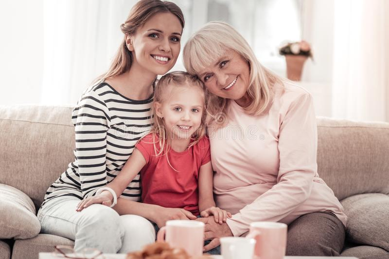 Amazing smiling family having great time together royalty free stock image