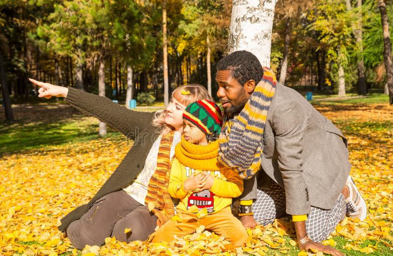 Happy family in autumn park. African American family: black father, mom and child boy on nature in fall. Happy family in autumn park. African American family royalty free stock photos