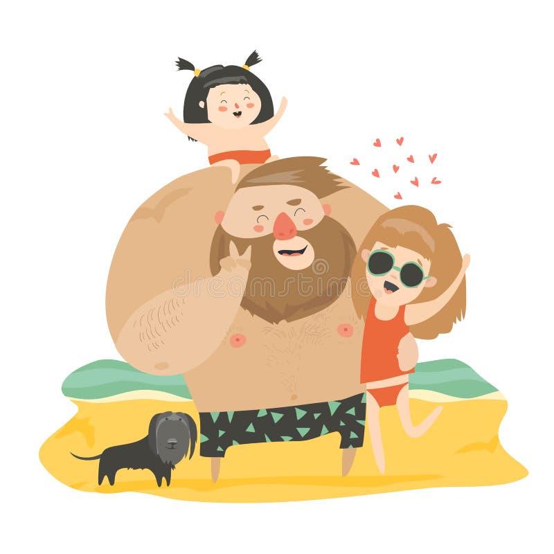 Happy family at the beach stock illustration