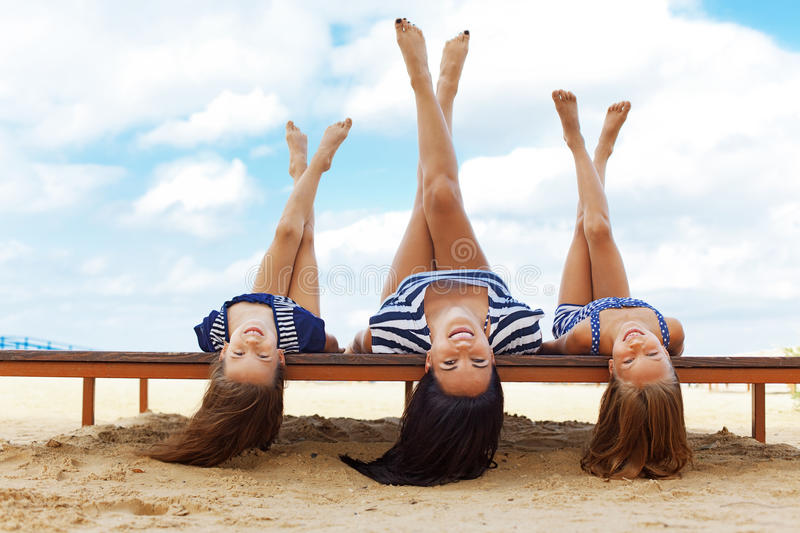 Download Happy family at the beach stock image. Image of lying - 33650315