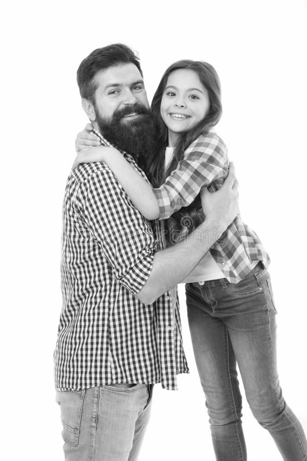 Happy family. Bearded man father with happy daughter. Little girl love her father. Happy moments. Family day. Happy. Happy family. Bearded men father with happy stock photos