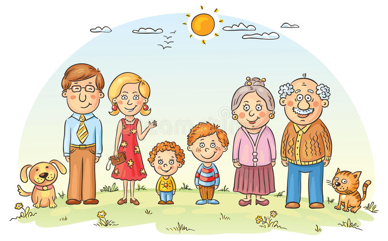 Happy family. Big happy cartoon family outdoors stock illustration