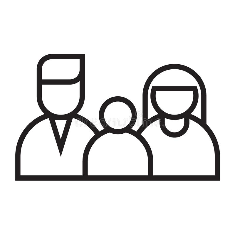 Happy family black line icon. Vector illustration isolated on white background - happy family black line icon stock illustration