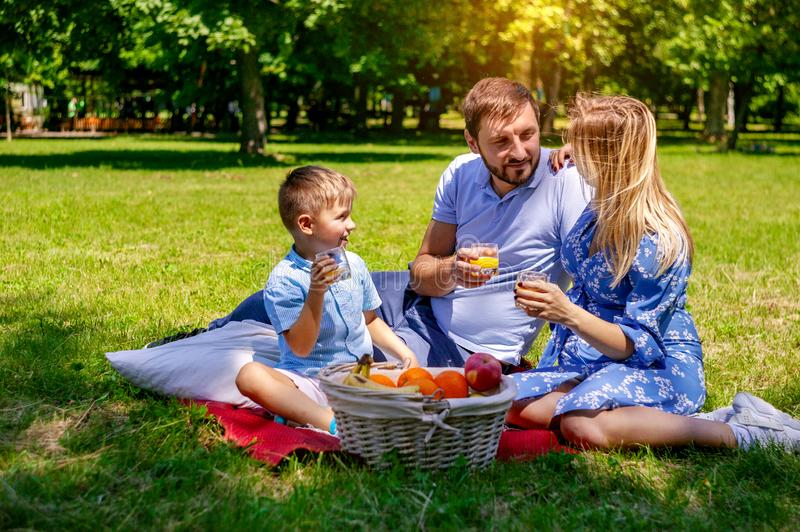 Happy family on the blanket resting in the park, pregnant mother. stock photography