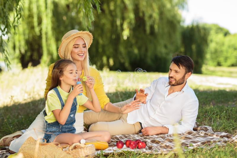 Happy family blowing bubbles in summer park royalty free stock photography