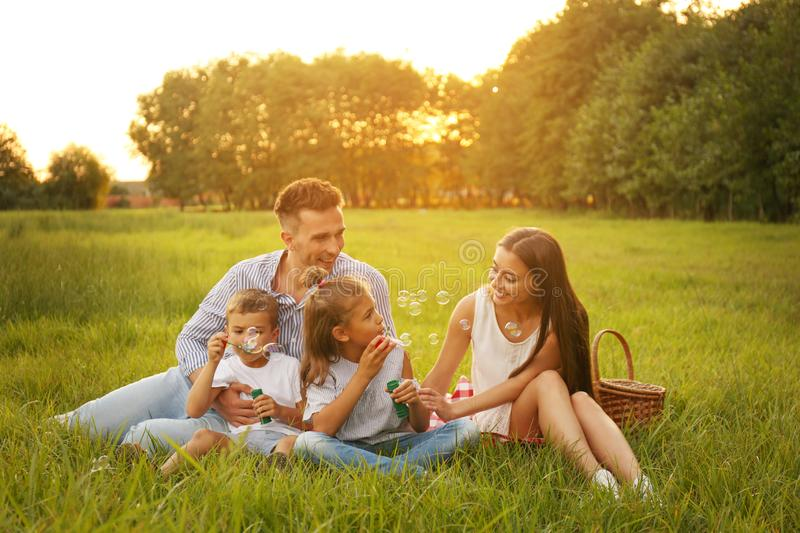 Happy family blowing soap bubbles in park. Summer picnic royalty free stock photos