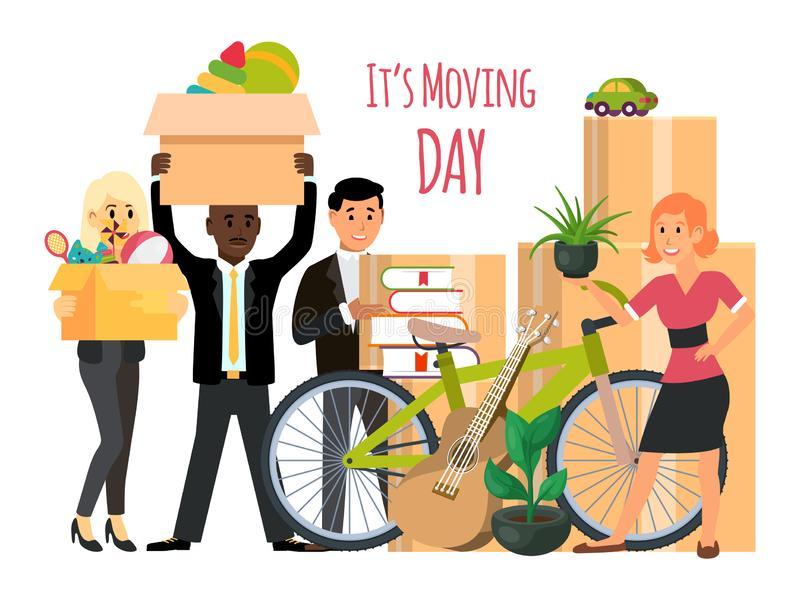 Happy family with boxes are moving vector illustration. Families packaging for move to new home. royalty free illustration