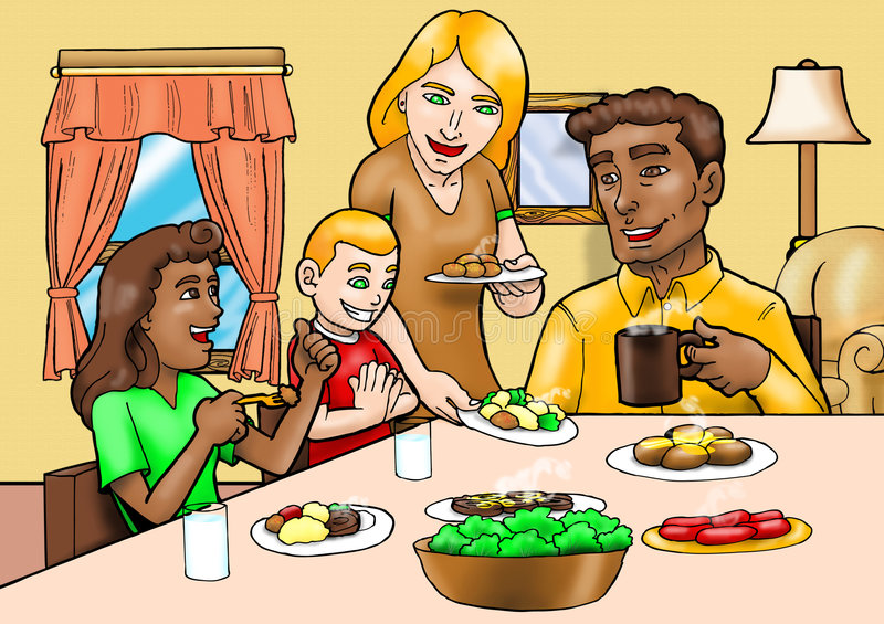Download Happy family breakfast stock illustration. Illustration of freedom - 6159067