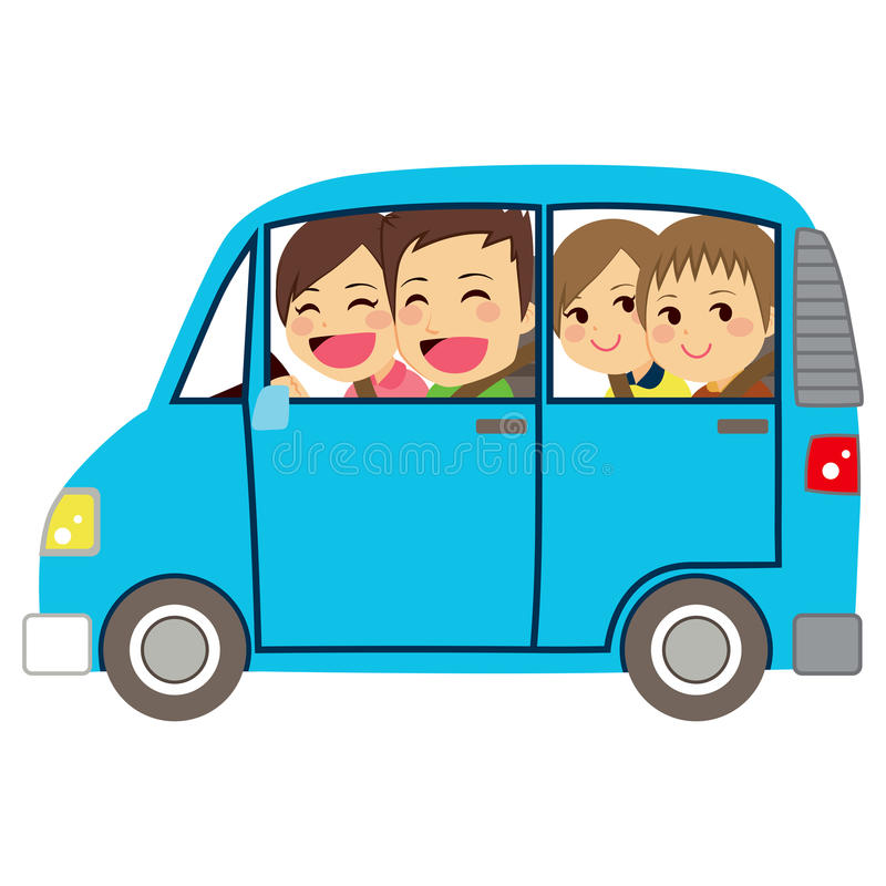 Happy Family Car Minivan. Side view illustration of cute happy family of four members on car minivan vector illustration