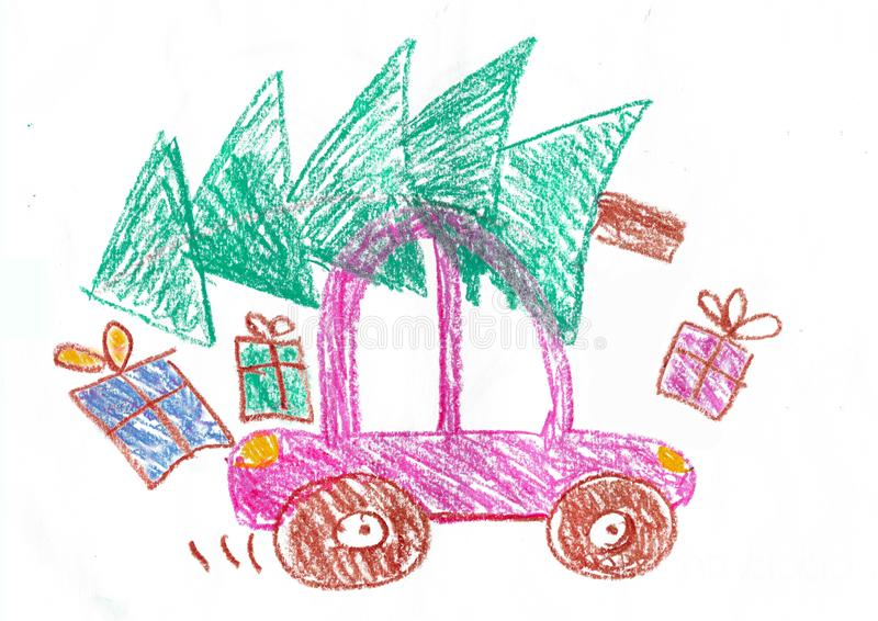 Happy family on the car trip. Child\'s drawing. Happy family on the car trip. Father, mother, two daughters and son. Child\'s drawing royalty free stock photography
