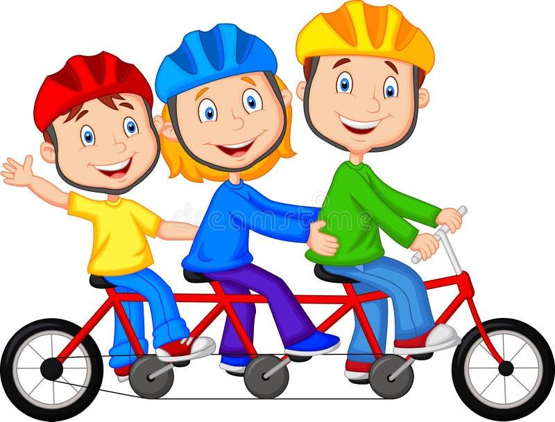 Happy family cartoon riding triple bicycle stock illustration