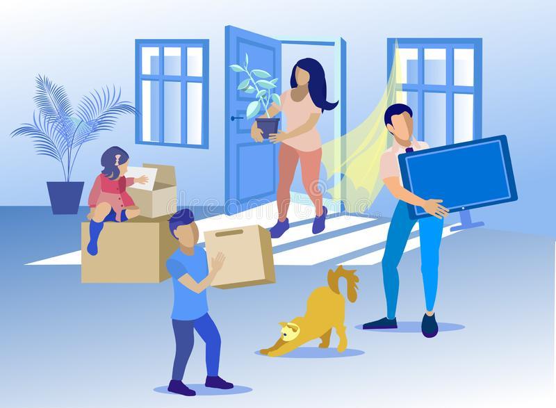 Happy Family with Cat Moving to New Home Cartoon royalty free illustration