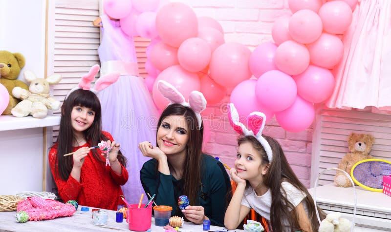Happy family celebrate spring holiday, love. stock image