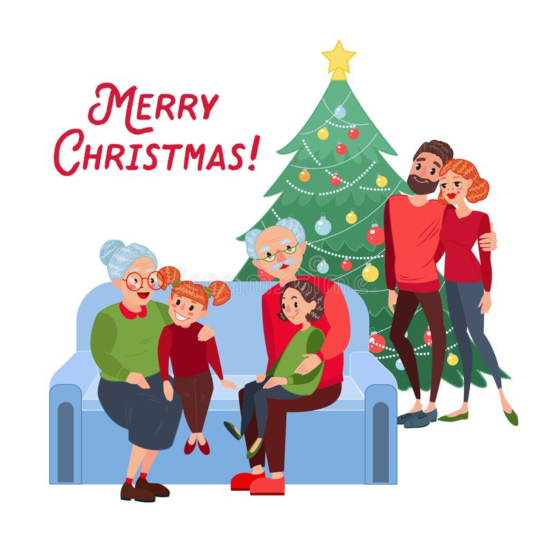 Happy Family Celebrating Christmas. Grandparents with Grandchildren on New Year Eve. Winter Holidays. Vector illustration vector illustration