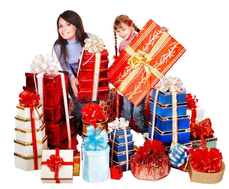 Happy family with child and group gift box. stock photos
