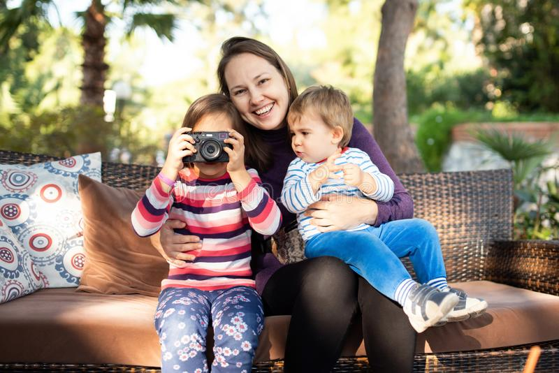 Happy Family with Children Enjoying Time Together stock photos