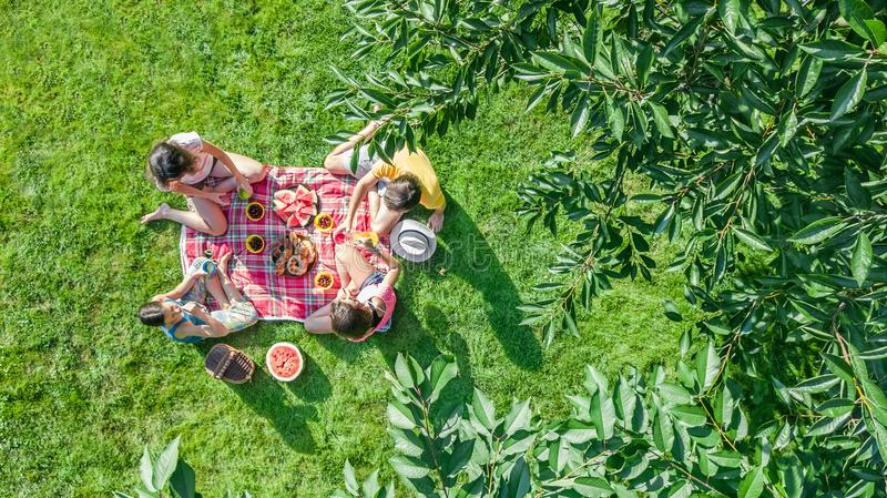 Happy family with children having picnic in park, parents with kids sitting on garden grass and eating healthy meals outdoors. Aerial drone view from above stock photography